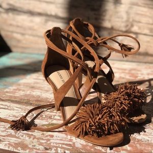 Gianni Bini Pom Pom sandals in tan